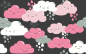 Preview: Clouds, Wolken Jersey, anthrazit mit rosa/pink